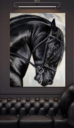 Black Friesian Horse canvas for Sale in Nashville,  TN