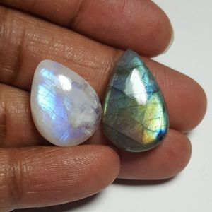 Labradorite & Rainbow Moonstone Cabochon: LRL-01-1/STK-116 for Sale in Queens, NY