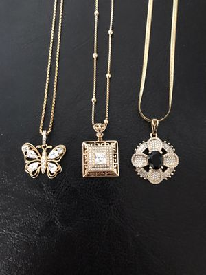 Gold plated pendant with chain ($13 each) for Sale in Philadelphia, PA
