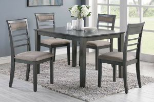 5 piece dining table set gray finish for Sale in Los Angeles, CA