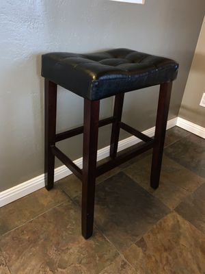 Black Leather Brown Wood Stool for Sale in San Diego, CA