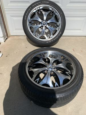 22 inch rims and tires for Silverado or Tahoe or other for Sale in Perris, CA