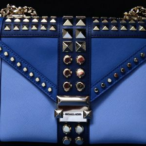 Michael Kors, Large Studded Seffiano Blue Leather Purse for Sale in Newark, CA