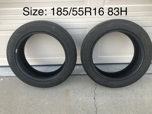 """2 All Season Tires. Size 185 \ 55 \ R16 (see photo). Fits most 16"""" RIMS. Fits Honda Fit and many others. Has good amount of tread left (see photos) for Sale in San Jose, CA"""