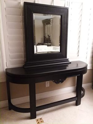 Like new solid wood table with mirror set both for 385 for Sale in San Dimas, CA