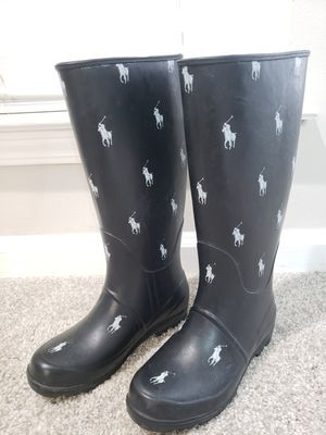 RALPH LAUREN POLO Repeat Pony Rain Boots - Black White - Womens Size 5 for Sale in Stonecrest, GA