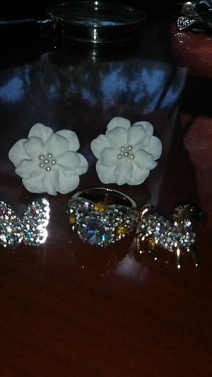 Cute animal rhinestone bling bling and korea fashion big flower stud resin earings and crystal ring lot for Sale in Richmond, CA
