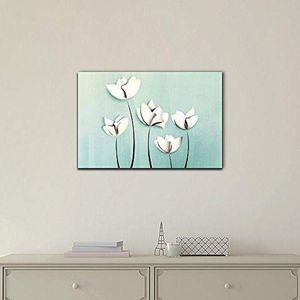 ((FREE SHIPPING)) Canvas wall art - abstract white flower on light blue background modern home decor Painting like print for Sale in Mill Neck, NY