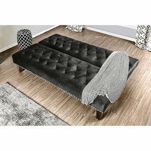 BLACK ESPRESSO GLAM Flannelette Fabric Button Tufted FUTON SOFA ADJUSTABLE BED for Sale in Highland, CA