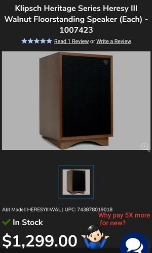 Completely Original Klipsch Heresy II Vintage Speakers (Birchwood) Consecutive Serial #'s for Sale in Maricopa, AZ