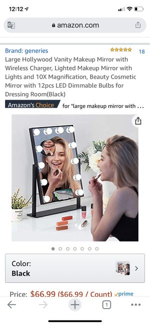 Large Hollywood Vanity Makeup Mirror with Wireless Charger, Lighted Makeup Mirror with Lights and 10X Magnification, Beauty Cosmetic Mirror with 12pc for Sale in Montclair, CA