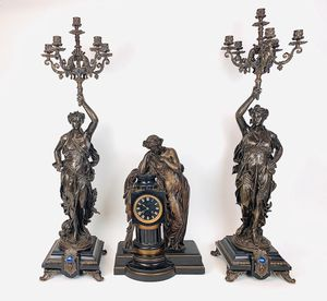 19th C. French Patinated Bronze Clock Set made by Charpentier for Sale in Pasadena, CA