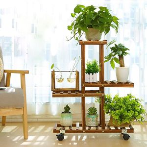 Tiered Wood Plant Flower Stand Shelf Planter Pots Shelves Rack Holder Display for Multiple Plants Indoor Outdoor Garden Patio, With/Without Optional for Sale in Whittier, CA