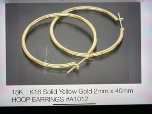 18k k18 solid yellow gold 2MM x40mm hoop earring. for Sale in Melbourne, FL