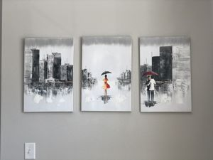 Abstract Wall Art - Cityscape Oil Painting on Canvas for Sale in Cary, NC