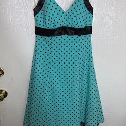 Juniors Size 7 Teal And Black Polka Dot 50s Style Dress for Sale in Phoenix,  AZ