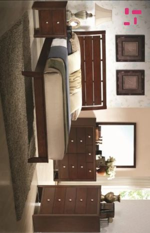 Evan Cherry Panel Bedroom Set | B4700 Queen and King size bed frame Dresser Mirror Nightstand for Sale in Houston, TX
