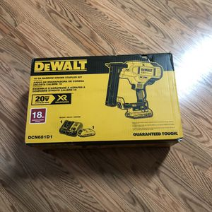 DeWalt 20-Volt MAX XR Lithium-Ion Cordless 18-Gauge Narrow Crown Stapler Kit with Battery 2Ah, Charger and Contractor Bag. for Sale in Portland, OR
