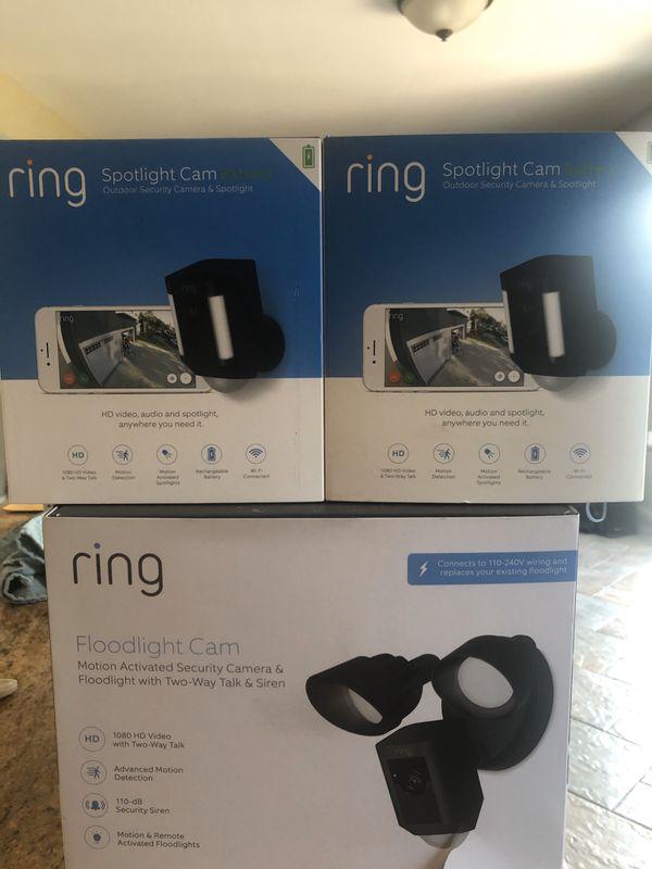 Ring Floodlight Camera and 2 Ring Spotlight Cameras brand new. $450 for all 3