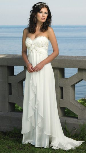 Beautiful Wedding dress Destinations from Mon Cheri w a pretty white stroll - size xs/small (bought at $500) for Sale in Cambridge, MA