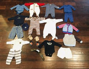 Baby boy 3-6months winter clothes w/ 2 pairs of shoes and hat for Sale in Gilbert, AZ