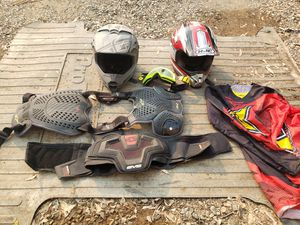 Dirt bike stuff helmets chest protector kindy belt jerseys goggles for Sale in Reedley, CA
