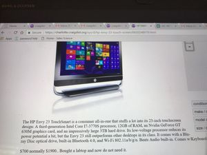 HP ENVY 23 Touch Screen Computer for Sale in Charlotte, NC