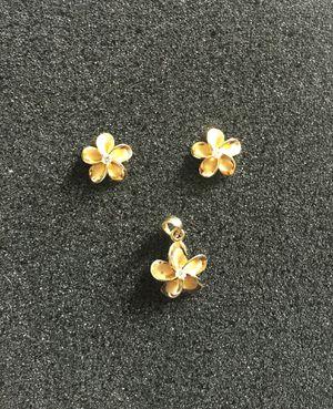 Hawaiian Plumeria Charm Pendant and Earrings for Sale in San Mateo, CA