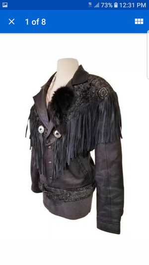 60'S VINTAGE ROCKEY LEATHER FRINGES WESTERN WOMAN PAISLEY MOTORCYCLE JACKET XL for Sale in Las Vegas, NV