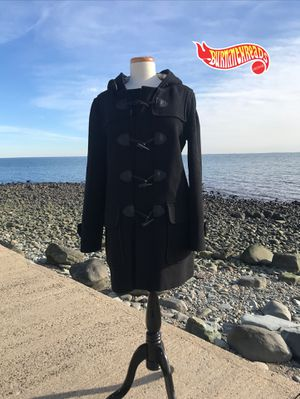 Burberry Brit Finsdale Wool Toggle Coat Jacket Black Trench Hood Size 12 Rare for Sale in New Haven, CT