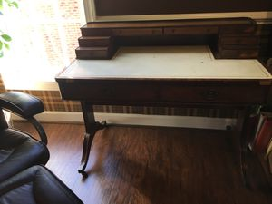 Antique Leather top writing desk for Sale in Raleigh, NC
