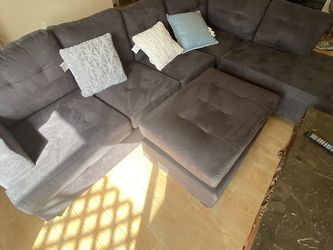 Plush Grey Sectional Sofa with Ottoman for Sale in Anaheim, CA