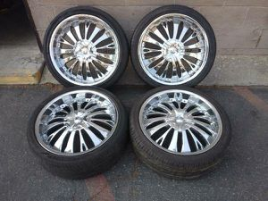 READ AD chrome 20 in rims with old tires 5 on 100mm 5 on 4.5 inches for Sale in Montebello, CA
