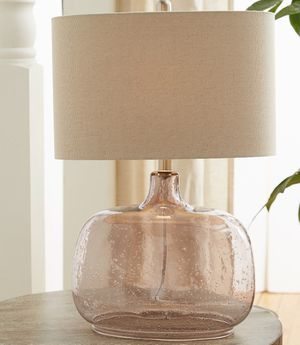Brand New Glass Oval Bottle Shape Table Lamp with a Linen Shade for Sale in Santa Monica, CA