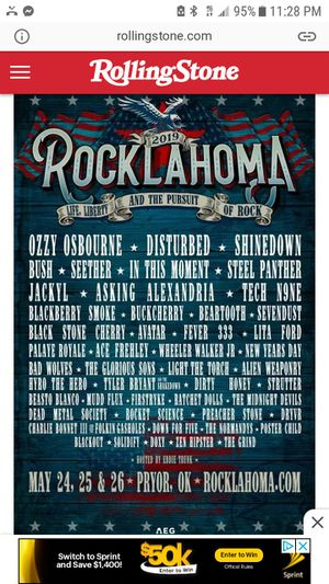 Rocklahoma tickets for Sale in LRAFB, AR