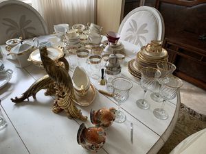 Gold embellished dishes, tea cups, and tall glasses for Sale in Key Biscayne, FL
