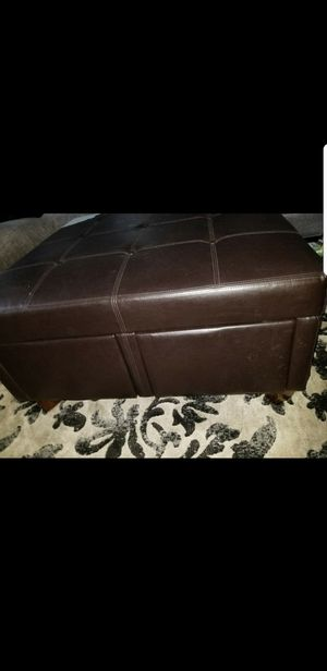 Brown leather Ottoman with 4 drawers for Sale in Tampa, FL