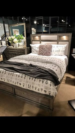 Grey Wooden Bed Frame With Padded Headboard & Lighted Shelves - Queen / King / Cal King for Sale in San Rafael, CA