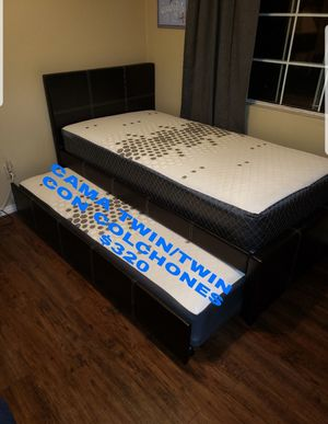 BRAND NEW BED FRAME TWIN/TWIN COMES IN BOX WITH MATTRESSES INCLUDED $320🔊🔊🔊🔊🔊🔊AVAILABLE FOR SAME DAY DELIVERY OR PICK UP for Sale in Compton, CA