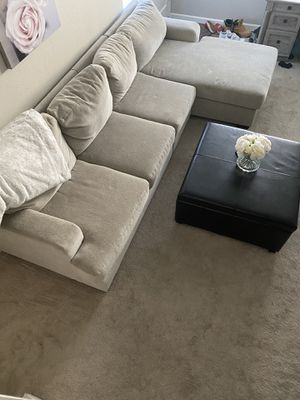 Ashley Sectional and leather ottoman -Moving, must sell for Sale in San Jose, CA