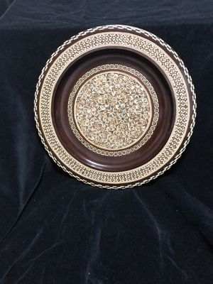 Antique wooden inlay of mother of pearl plate for Sale in Tyler, TX