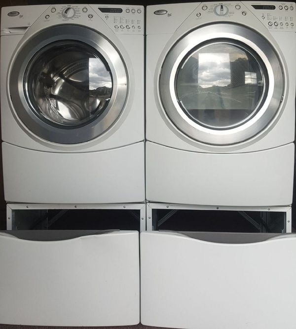 WHIRLPOOL WASHER AND DRYER FRON LOAD W PEDESTAL