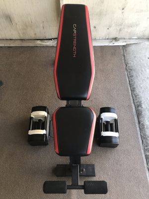 Adjustable weight bench and pair of PowerBlock adjustable dumbbells for Sale in Rosemead, CA