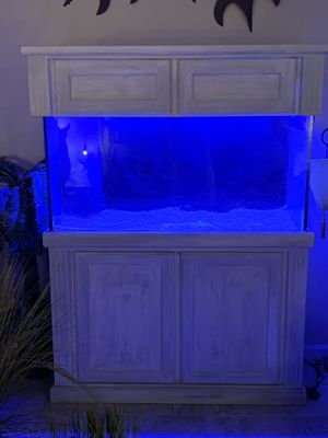 Ivory distressed custom 90 gallon fish tank cabinet equip optional for Sale in Stafford Township, NJ