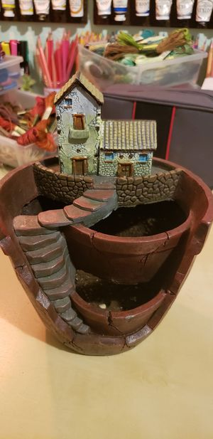 Plant pot with cute house for Sale in Camas, WA