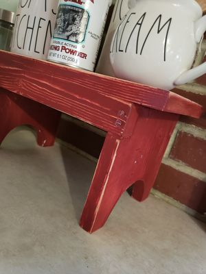 Small distressed red farmhouse stool for Sale in Tacoma, WA