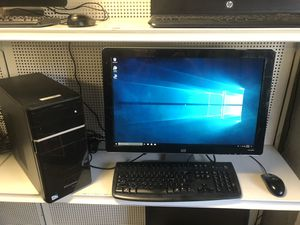 desktop computer win 10 comes with 24 inch monitor keyboard and mouse for Sale in Medford, MA