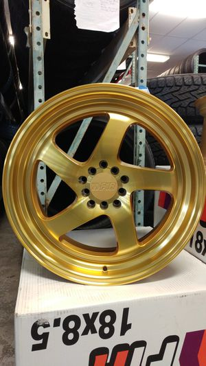 18x8.5 F1R F28 Rims 5x112 5x4.5 5x114.3 Machined Gold for Sale in Tacoma, WA