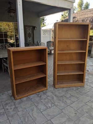 Trade or cash - Solid wood bookshelves for Sale in Riverside, CA