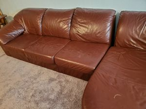 Leather couch sectional for Sale in Colorado Springs, CO